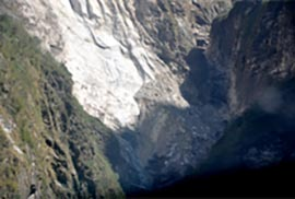 Figure 1: Rockfall that was initially suggested to be the cause of the flash flood