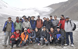 Colleagues from CAREERI, ICIMOD, and partners organizations (DHM, WECS, KU, TU) in front of Urumqi Glacier No. 1.