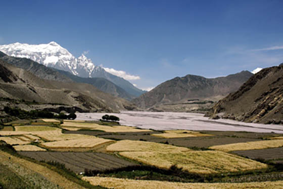 View from Kagbeni in Mustang, Nepal, with Nilgiri Himal in the background