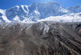 Figure 2d: Annapurna IV where the ice/rockfall was suggested, with brown colour in the foreground due to settled particles