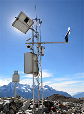 Automatic weather station at the Yala Glacier base camp