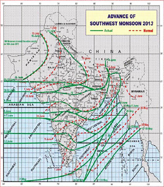 Advance of southwest monsoon, 2013