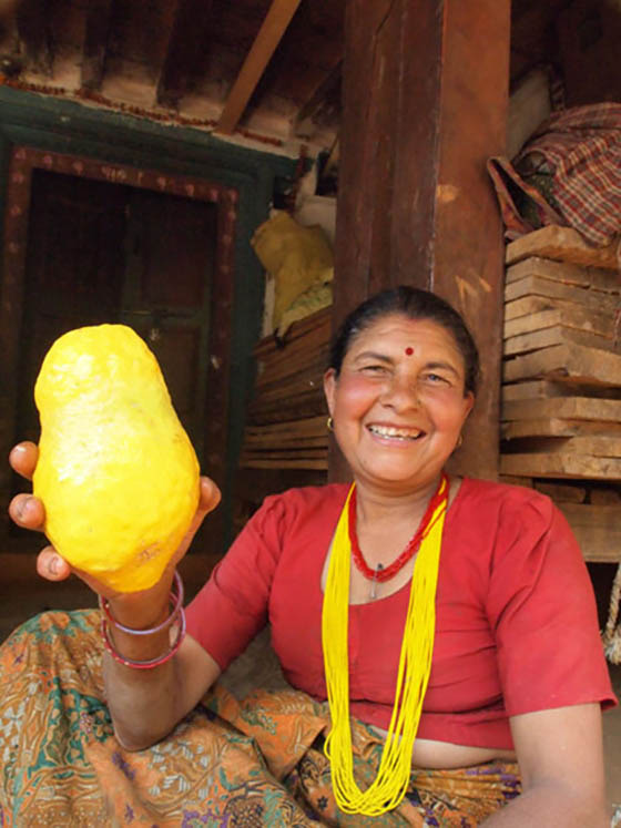 A woman shows a homegrown bimiro fruit (lemon melon)