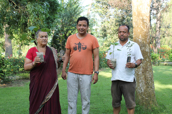 Chitwan National Park Bufferzone member's receiving the Paulownia and Coffee saplings