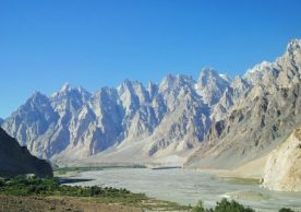 The Hunza River in front of the Passu cones