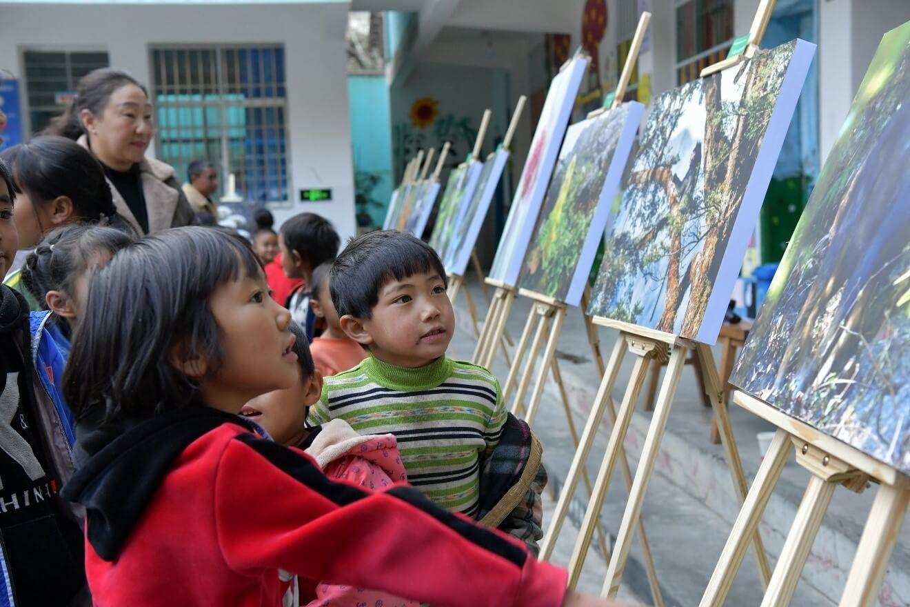 School children touring the exhibition