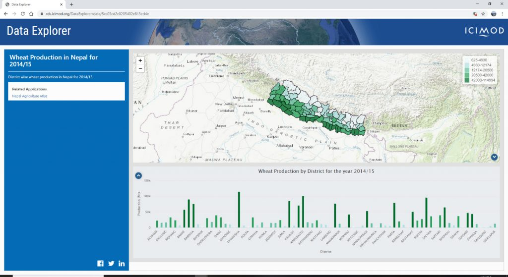 The Data Explorer application allows visualization of data as dynamic maps and charts and easy sharing of generated maps and charts on social media