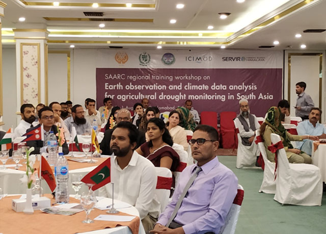 Participants at the regional workshop on earth observation and climate data analysis for agriculture drought monitoring in South Asia.