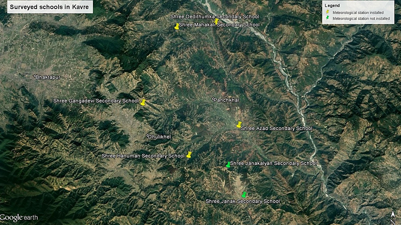 Map showing surveyed schools in Kavre
