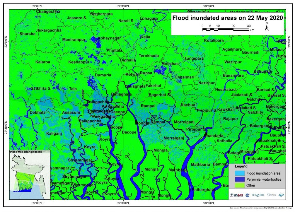Sentinel-1 based flood inundation map on 22 May 2020 for the Cyclone Amphan affected area