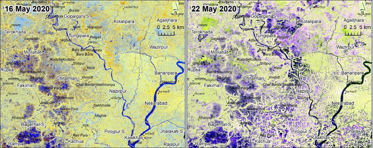 Pre/post flooding: Sentinel-1 imageries from 16 May 2020 and 22 May 2020