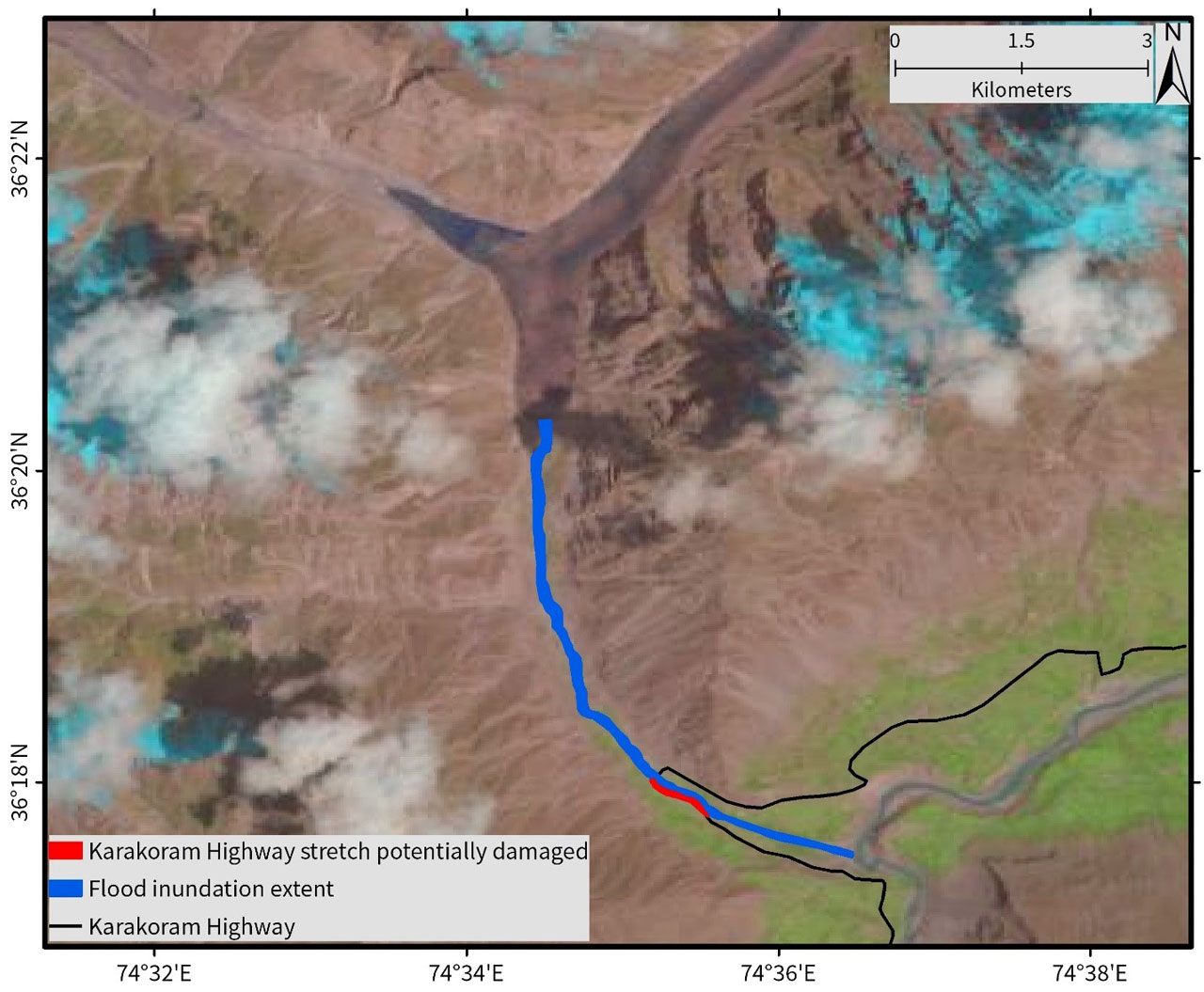Extent of inundation due to the GLOF on 29 May 2020 at 10:08 AM local time