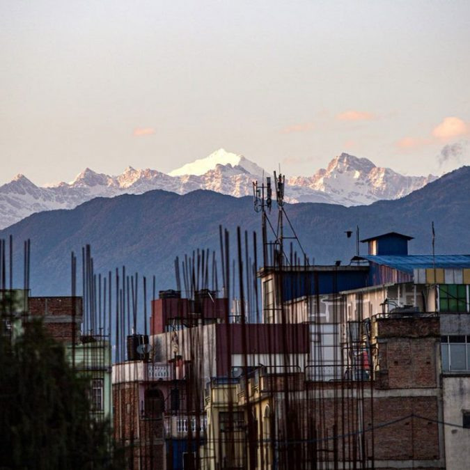 The Himalaya as seen from a rooftop in central Kathmandu, Nepal, on 5 May 2020
