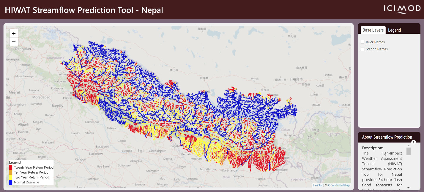 HIWAT-based streamflow prediction for Nepal showing prediction for 29 July 2020.