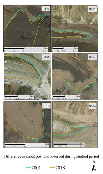 Terminus retreat of all six glaciers in the study area between 2001 and 2018