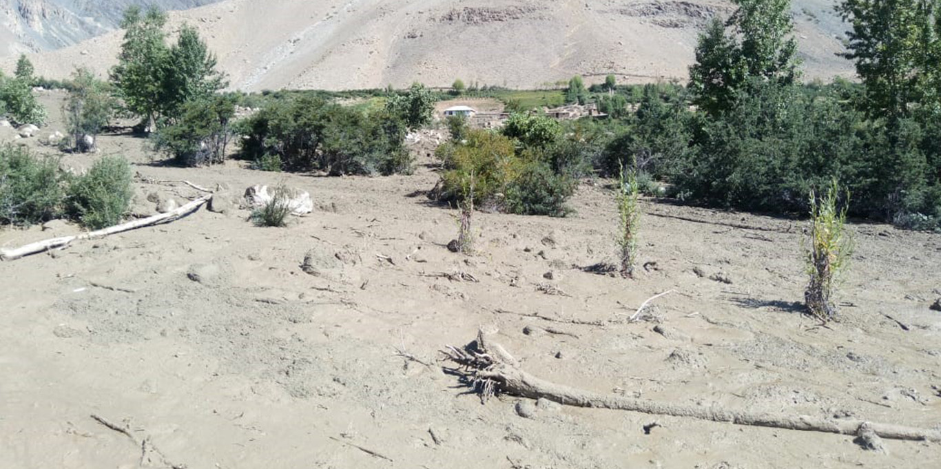 Mud and debris left behind by a flash flood in Yarkhoon Lusht