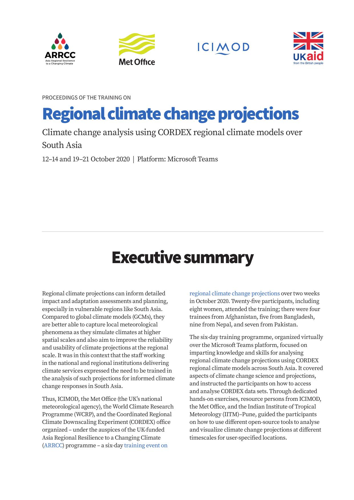 regional climate change projections