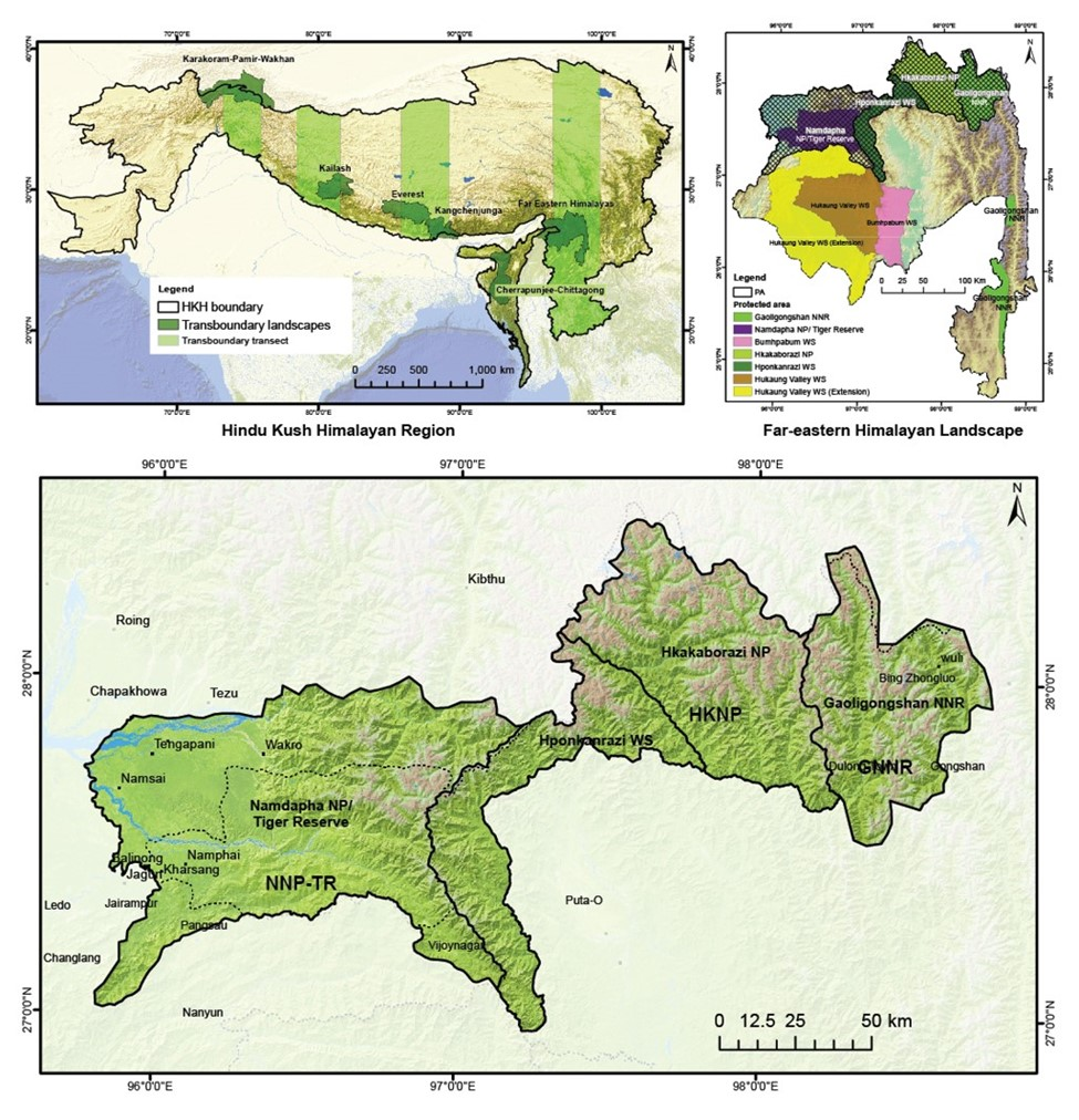 Study areas in the three far-eastern Himalayan landscape