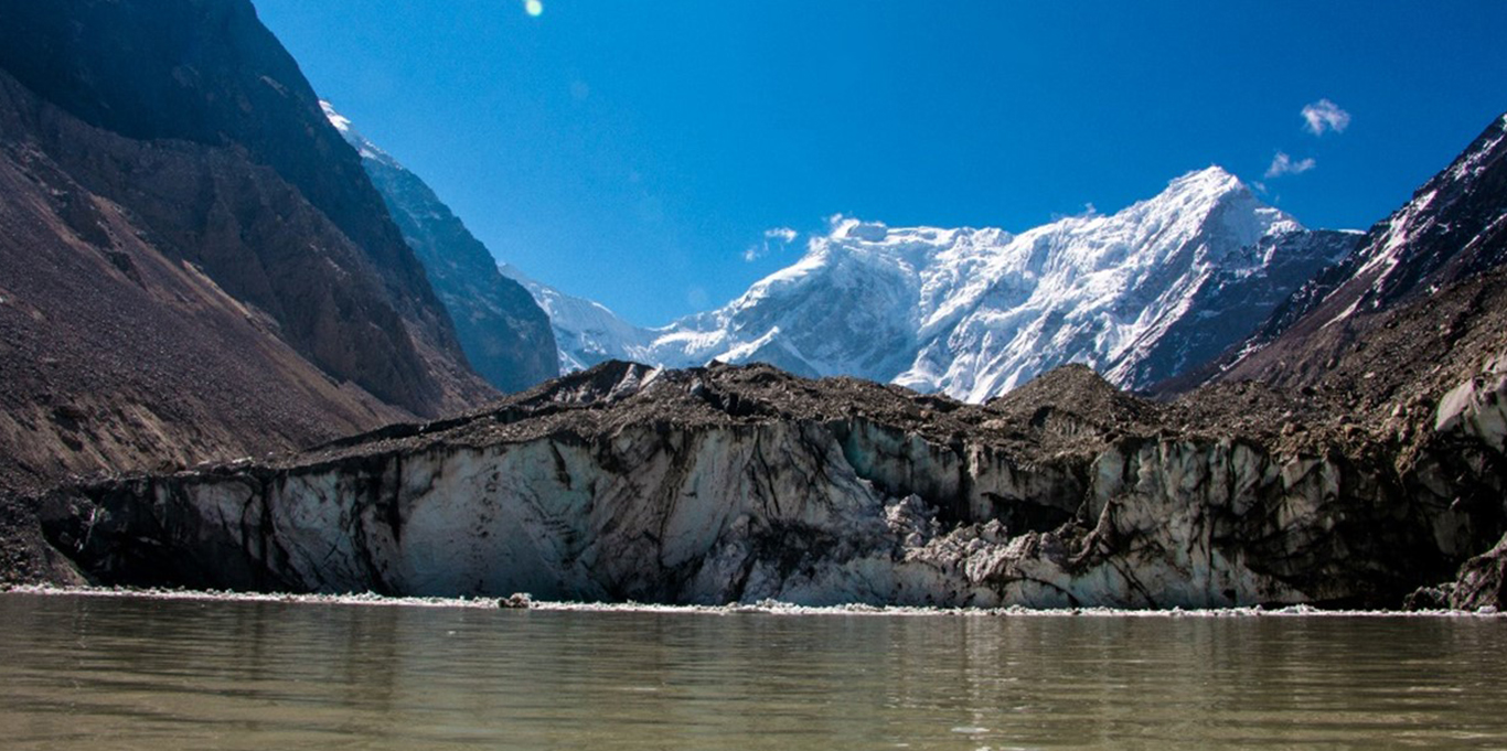 Takarding Glacier calving into Tsho Rolpa glacial lake