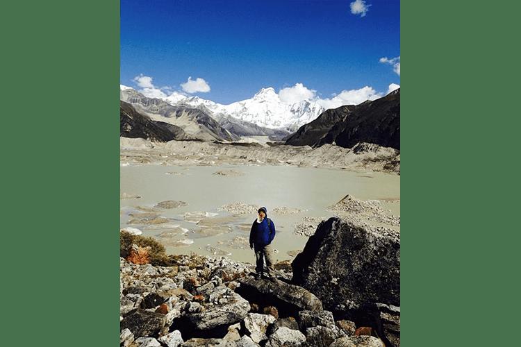 Sonam at Thorthormi Glacial lake