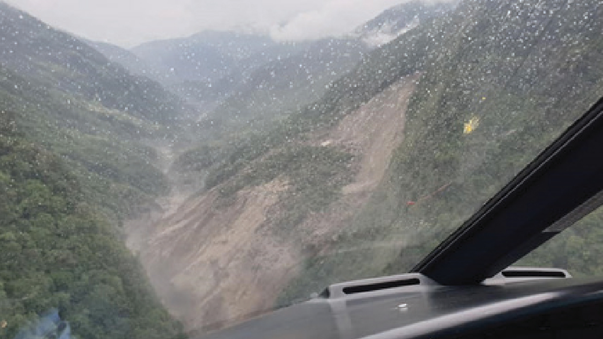 Photograph of the landslide dam